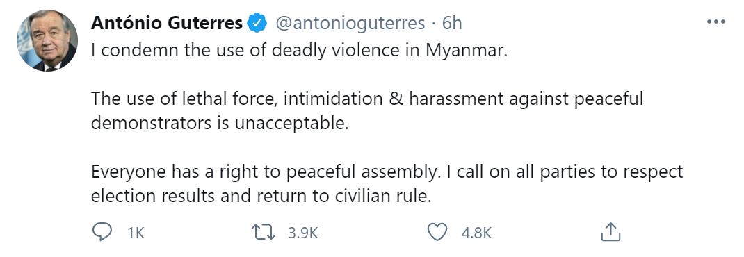 缅甸国内抗议2人遭枪击身亡,联合国秘书长发文谴责